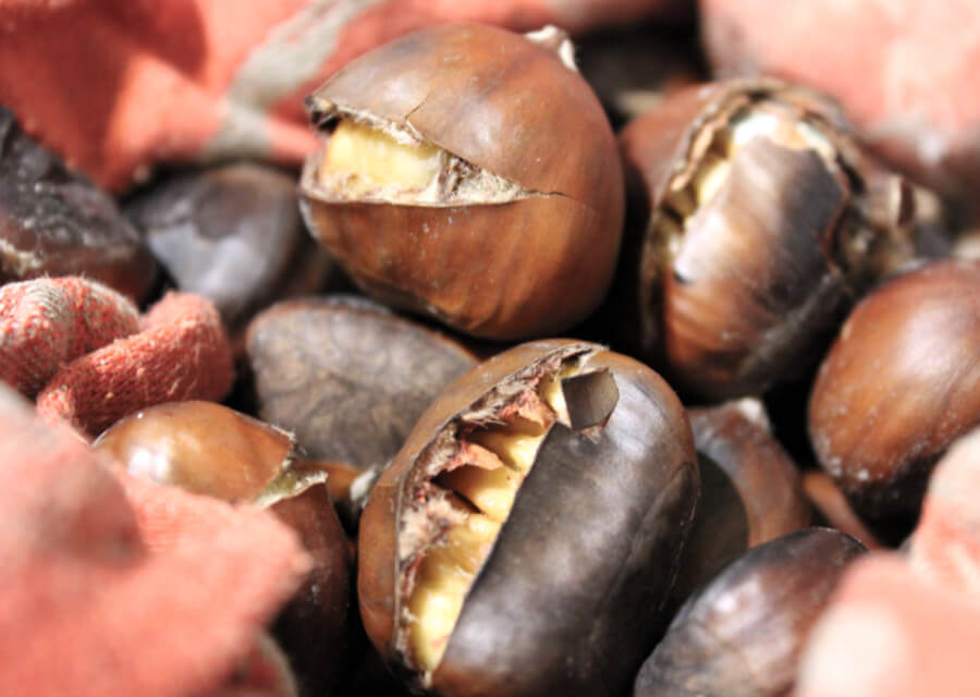 Marsala flavored roasted chestnuts